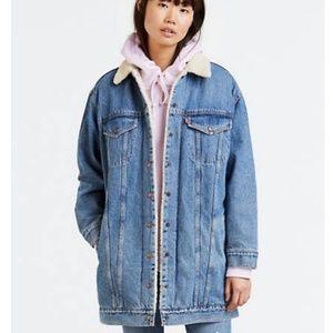 Levi's sherpa lined long jean jacket